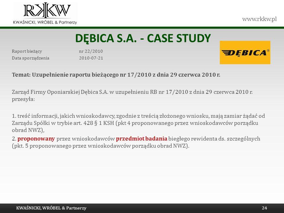 www.rkkw.pl DĘBICA S.A. - CASE STUDY Raport bieżący nr 22/2010 Data sporządzenia 2010-07-21 Temat: Uzupełnienie raportu bieżącego nr 17/2010 z dnia 29