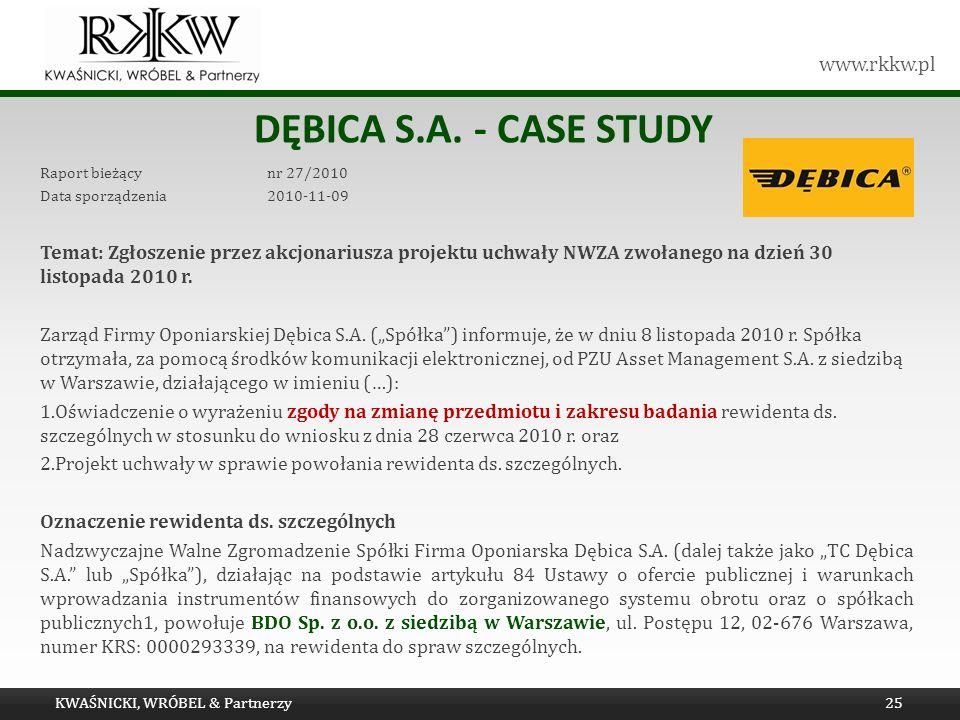 www.rkkw.pl DĘBICA S.A. - CASE STUDY Raport bieżący nr 27/2010 Data sporządzenia 2010-11-09 Temat: Zgłoszenie przez akcjonariusza projektu uchwały NWZ