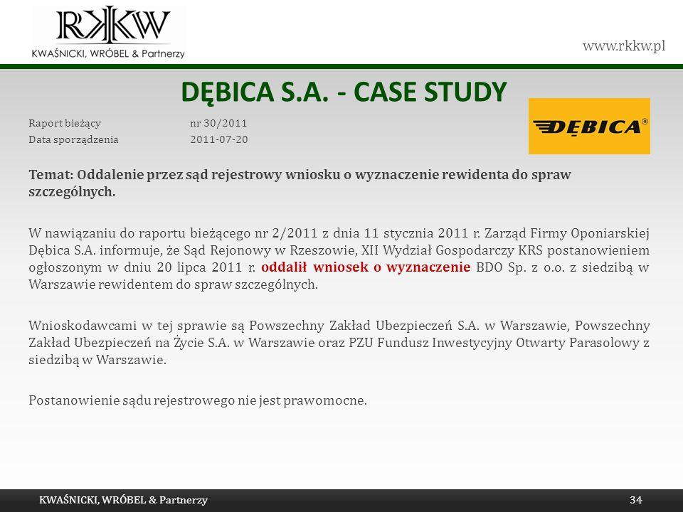 www.rkkw.pl DĘBICA S.A. - CASE STUDY Raport bieżący nr 30/2011 Data sporządzenia 2011-07-20 Temat: Oddalenie przez sąd rejestrowy wniosku o wyznaczeni