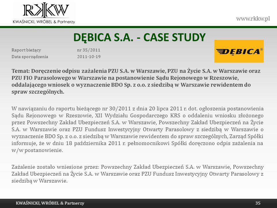 www.rkkw.pl DĘBICA S.A. - CASE STUDY Raport bieżący nr 35/2011 Data sporządzenia 2011-10-19 Temat: Doręczenie odpisu zażalenia PZU S.A. w Warszawie, P