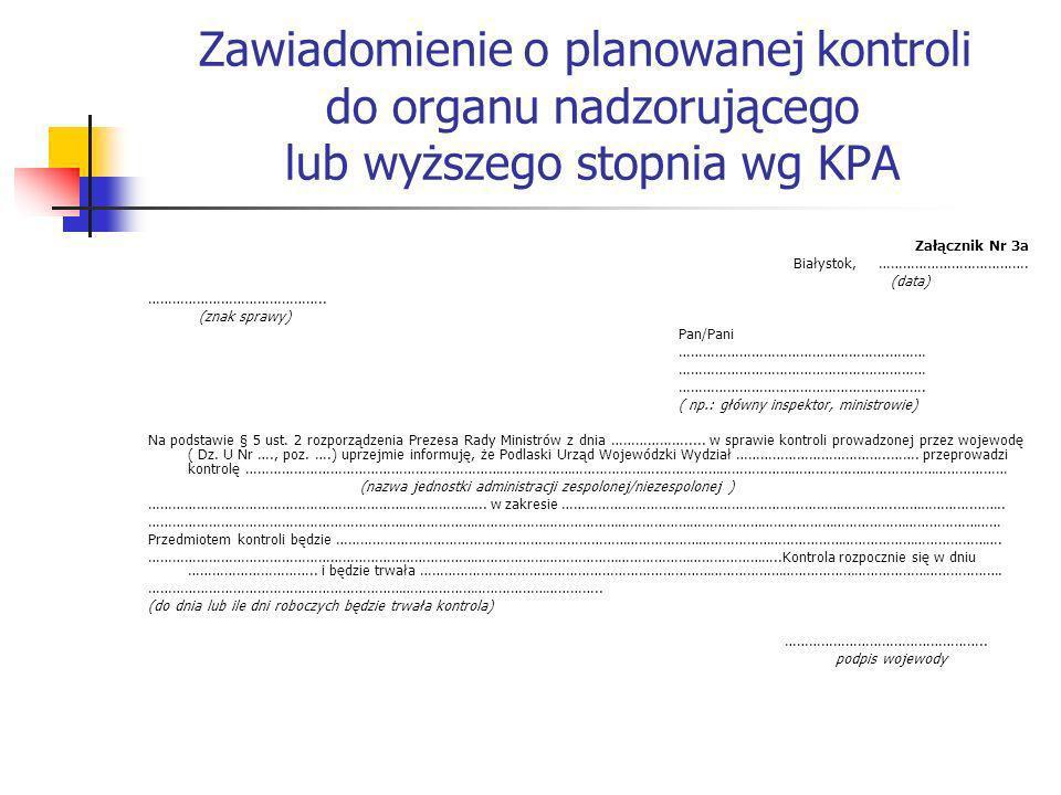 Zawiadomienie o planowanej kontroli do organu nadzorującego lub wyższego stopnia wg KPA Załącznik Nr 3a Białystok, ………………………………. (data) ……………………………………
