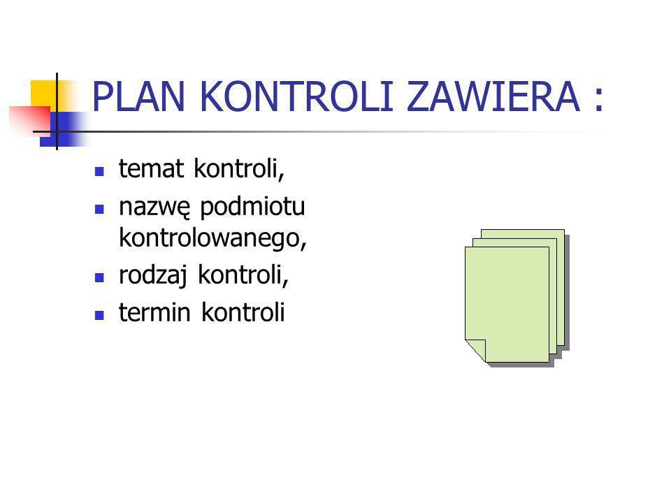 PLAN KONTROLI ZAWIERA : temat kontroli, nazwę podmiotu kontrolowanego, rodzaj kontroli, termin kontroli