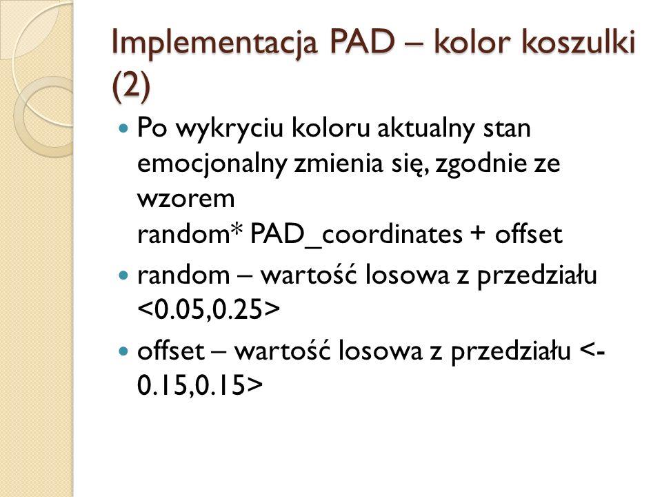 Implementacja PAD – kolor koszulki (2) Po wykryciu koloru aktualny stan emocjonalny zmienia się, zgodnie ze wzorem random* PAD_coordinates + offset random – wartość losowa z przedziału offset – wartość losowa z przedziału