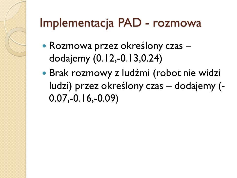 Implementacja PAD - rozmowa Rozmowa przez określony czas – dodajemy (0.12,-0.13,0.24) Brak rozmowy z ludźmi (robot nie widzi ludzi) przez określony czas – dodajemy (- 0.07,-0.16,-0.09)