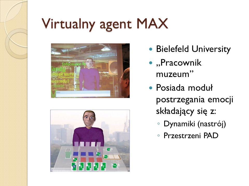 Virtualny agent MAX Bielefeld University Pracownik muzeum Posiada moduł postrzegania emocji składający się z: Dynamiki (nastrój) Przestrzeni PAD