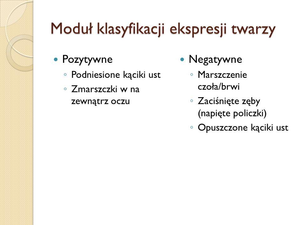 Moduł klasyfikacji ekspresji twarzy Pozytywne Podniesione kąciki ust Zmarszczki w na zewnątrz oczu Negatywne Marszczenie czoła/brwi Zaciśnięte zęby (napięte policzki) Opuszczone kąciki ust