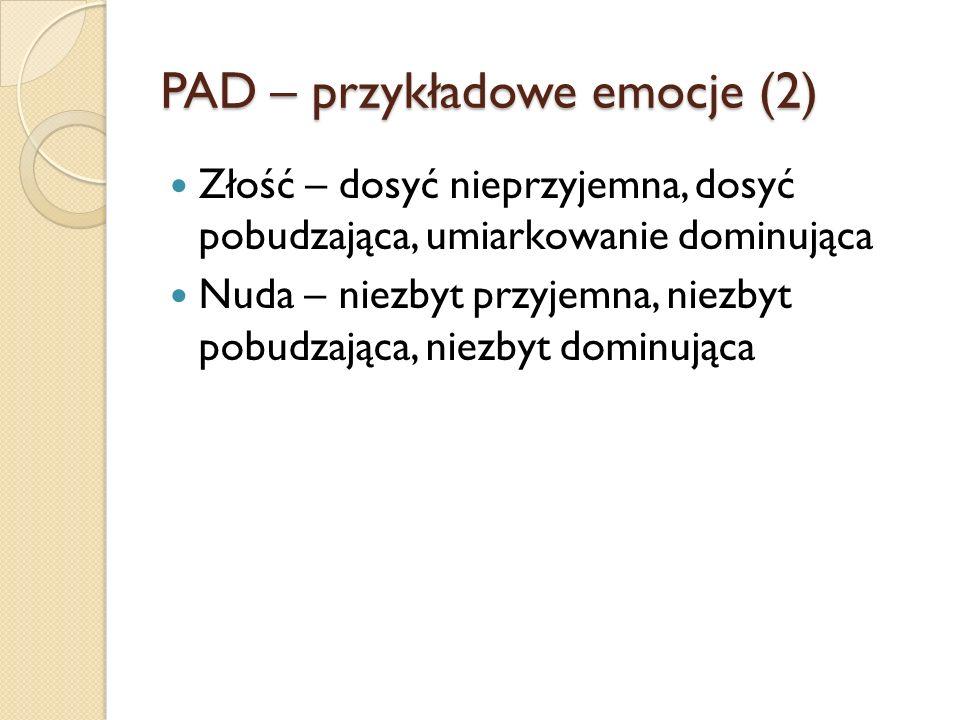 PAD – przykładowe emocje (2) Złość – dosyć nieprzyjemna, dosyć pobudzająca, umiarkowanie dominująca Nuda – niezbyt przyjemna, niezbyt pobudzająca, niezbyt dominująca