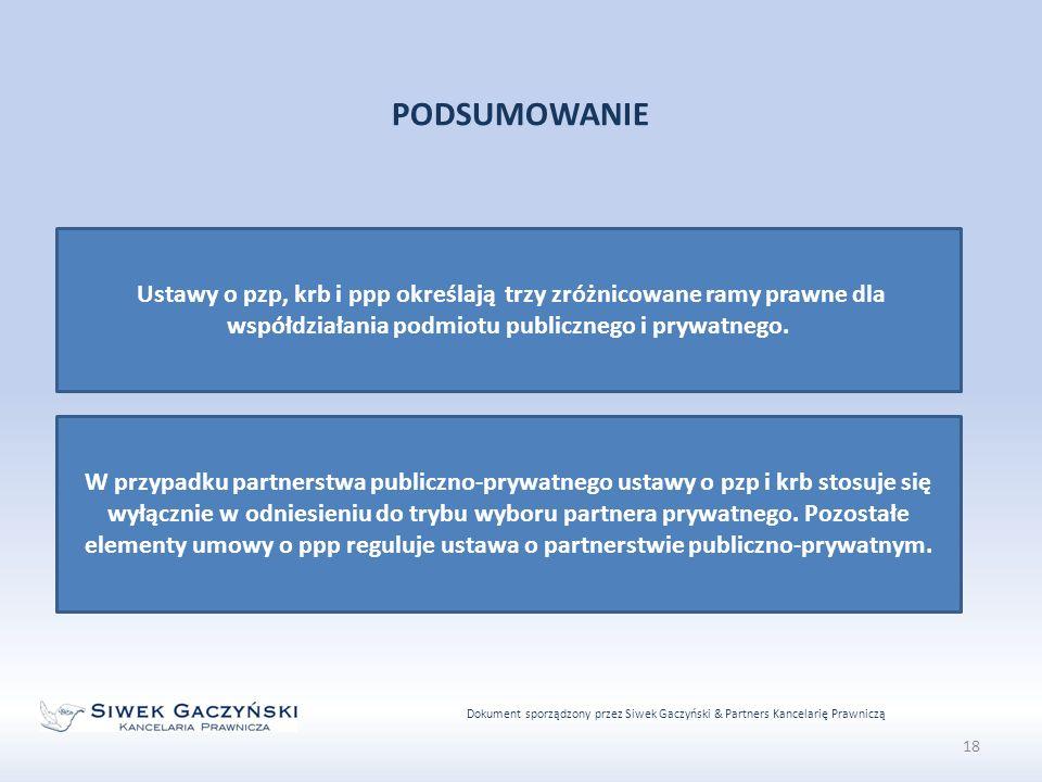 Dokument sporządzony przez Siwek Gaczyński & Partners Kancelarię Prawniczą 18 PODSUMOWANIE Ustawy o pzp, krb i ppp określają trzy zróżnicowane ramy prawne dla współdziałania podmiotu publicznego i prywatnego.