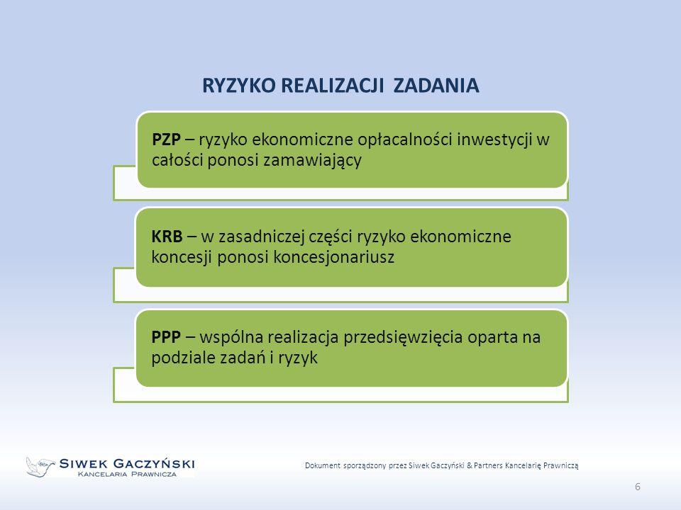 Dokument sporządzony przez Siwek Gaczyński & Partners Kancelarię Prawniczą 6 RYZYKO REALIZACJI ZADANIA PZP – ryzyko ekonomiczne opłacalności inwestycji w całości ponosi zamawiający KRB – w zasadniczej części ryzyko ekonomiczne koncesji ponosi koncesjonariusz PPP – wspólna realizacja przedsięwzięcia oparta na podziale zadań i ryzyk