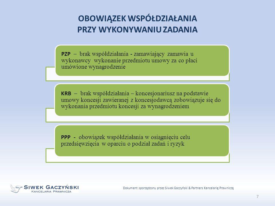 Dokument sporządzony przez Siwek Gaczyński & Partners Kancelarię Prawniczą 7 OBOWIĄZEK WSPÓŁDZIAŁANIA PRZY WYKONYWANIU ZADANIA PZP – brak współdziałania - zamawiający zamawia u wykonawcy wykonanie przedmiotu umowy za co płaci umówione wynagrodzenie KRB – brak współdziałania – koncesjonariusz na podstawie umowy koncesji zawieranej z koncesjodawcą zobowiązuje się do wykonania przedmiotu koncesji za wynagrodzeniem PPP - obowiązek współdziałania w osiągnięciu celu przedsięwzięcia w oparciu o podział zadań i ryzyk