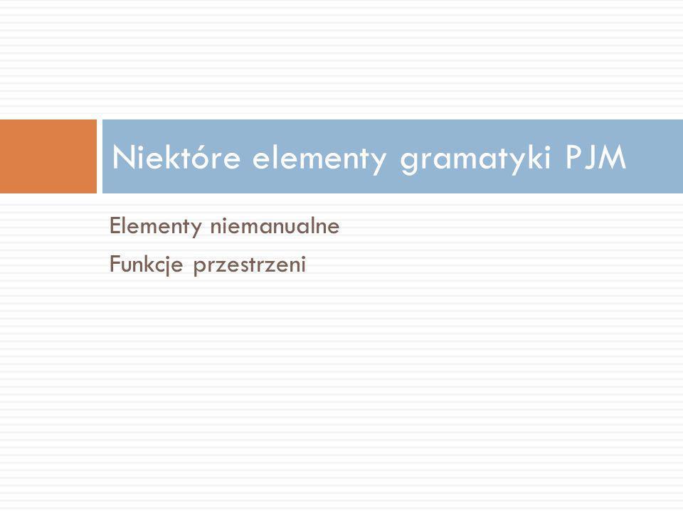 Elementy niemanualne Funkcje przestrzeni Niektóre elementy gramatyki PJM