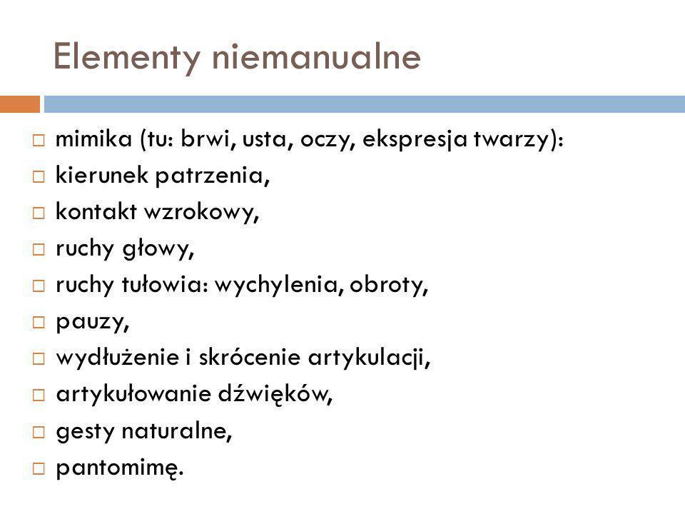 Elementy niemanualne mimika (tu: brwi, usta, oczy, ekspresja twarzy): kierunek patrzenia, kontakt wzrokowy, ruchy głowy, ruchy tułowia: wychylenia, ob