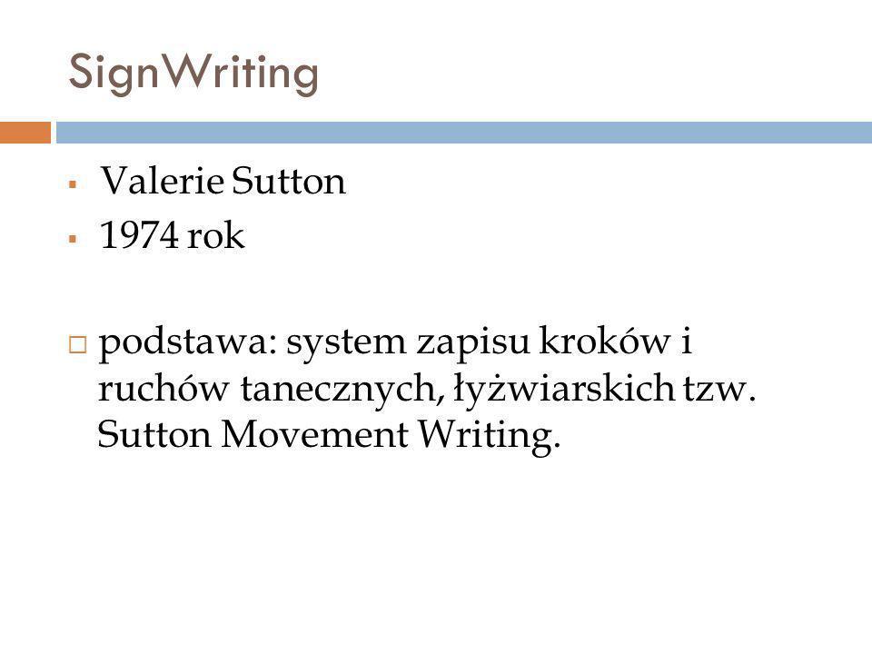 SignWriting Valerie Sutton 1974 rok podstawa: system zapisu kroków i ruchów tanecznych, łyżwiarskich tzw. Sutton Movement Writing.