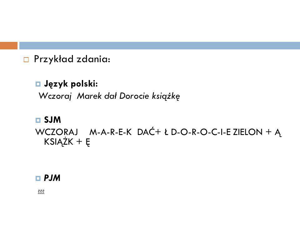 Przykład zdania: Język polski: Wczoraj Marek dał Dorocie książkę SJM WCZORAJ M-A-R-E-K DAĆ+ Ł D-O-R-O-C-I-E ZIELON + Ą KSIĄŻK + Ę PJM