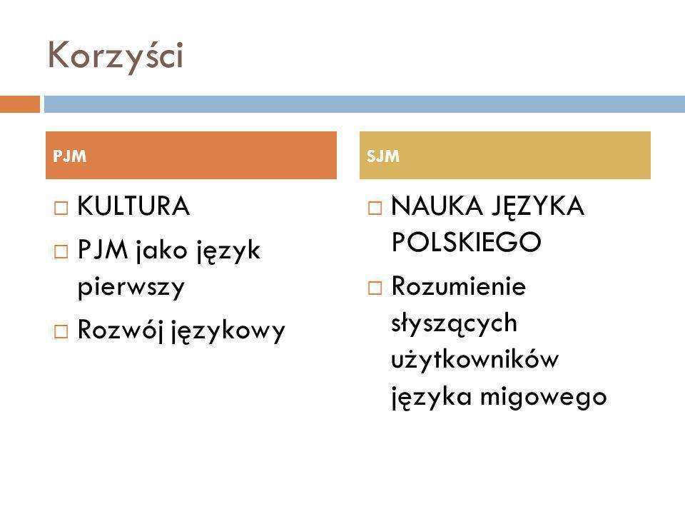 Korzyści KULTURA PJM jako język pierwszy Rozwój językowy NAUKA JĘZYKA POLSKIEGO Rozumienie słyszących użytkowników języka migowego PJMSJM