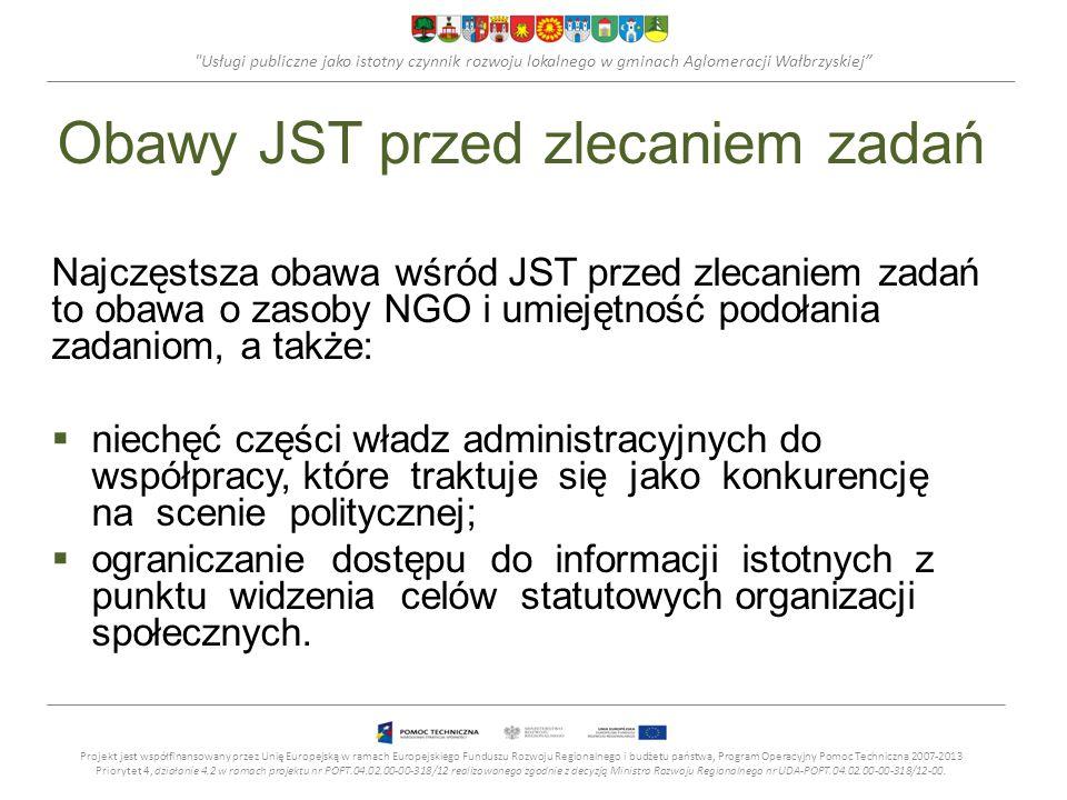 Usługi publiczne jako istotny czynnik rozwoju lokalnego w gminach Aglomeracji Wałbrzyskiej Obawy JST przed zlecaniem zadań Najczęstsza obawa wśród JST przed zlecaniem zadań to obawa o zasoby NGO i umiejętność podołania zadaniom, a także: niechęć części władz administracyjnych do współpracy, które traktuje się jako konkurencję na scenie politycznej; ograniczanie dostępu do informacji istotnych z punktu widzenia celów statutowych organizacji społecznych.