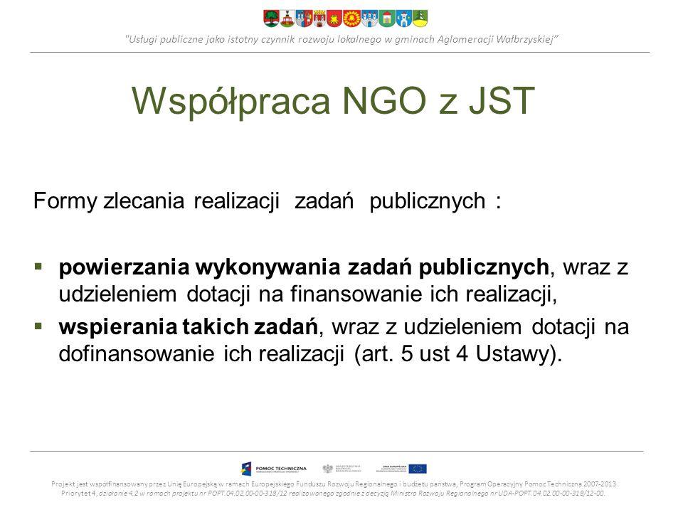 Usługi publiczne jako istotny czynnik rozwoju lokalnego w gminach Aglomeracji Wałbrzyskiej Współpraca NGO z JST Formy zlecania realizacji zadań publicznych : powierzania wykonywania zadań publicznych, wraz z udzieleniem dotacji na finansowanie ich realizacji, wspierania takich zadań, wraz z udzieleniem dotacji na dofinansowanie ich realizacji (art.