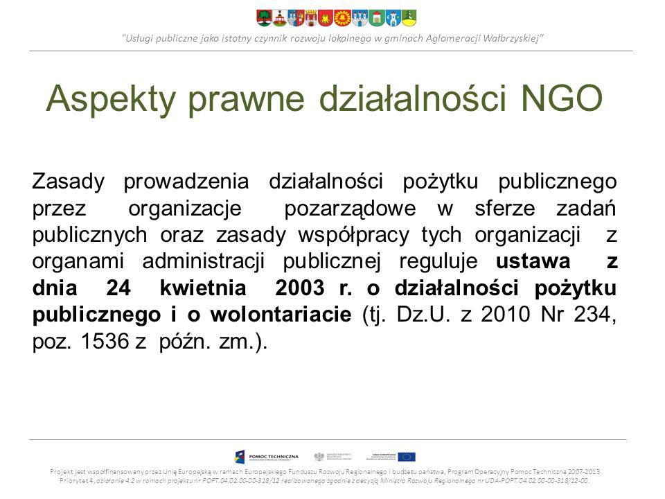 Usługi publiczne jako istotny czynnik rozwoju lokalnego w gminach Aglomeracji Wałbrzyskiej Aspekty prawne działalności NGO Zasady prowadzenia działalności pożytku publicznego przez organizacje pozarządowe w sferze zadań publicznych oraz zasady współpracy tych organizacji z organami administracji publicznej reguluje ustawa z dnia 24 kwietnia 2003 r.