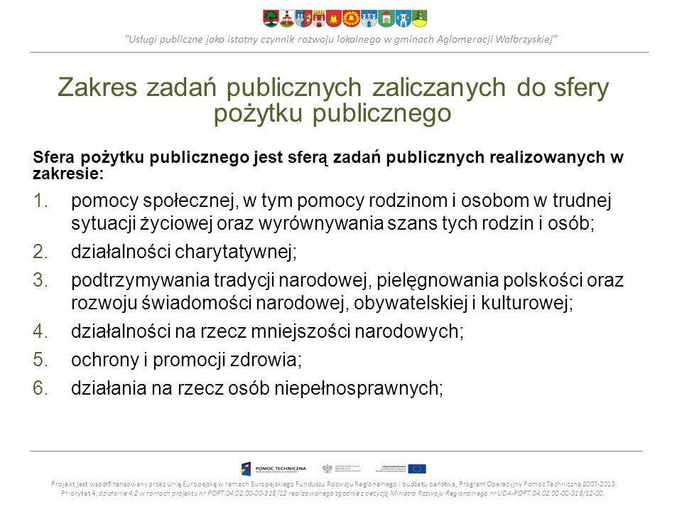 Usługi publiczne jako istotny czynnik rozwoju lokalnego w gminach Aglomeracji Wałbrzyskiej Współpraca NGO z JST stowarzyszeniami jednostek samorządu terytorialnego; spółdzielniami socjalnymi; spółkami akcyjnymi i spółkami z ograniczoną odpowiedzialnością oraz klubami sportowymi będącymi spółkami działającymi na podstawie przepisów ustawy z dnia 18 stycznia 1996 o kulturze fizycznej o ile nie działają one w celu osiągnięcia zysku oraz przeznaczają całość dochodu na realizację celów statutowych oraz nie przeznaczają zysku do podziału między swoich członków, udziałowców, akcjonariuszy i pracowników.