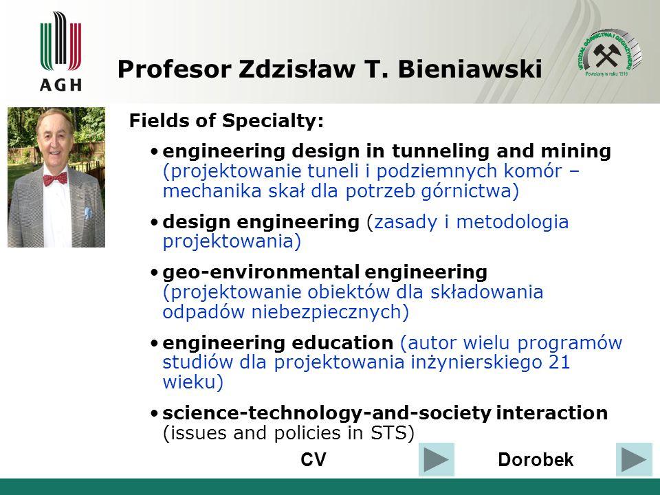 CVDorobek Fields of Specialty: engineering design in tunneling and mining (projektowanie tuneli i podziemnych komór – mechanika skał dla potrzeb górni