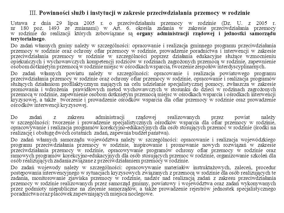 III. Powinności służb i instytucji w zakresie przeciwdziałania przemocy w rodzinie Ustawa z dnia 29 lipca 2005 r. o przeciwdziałaniu przemocy w rodzin