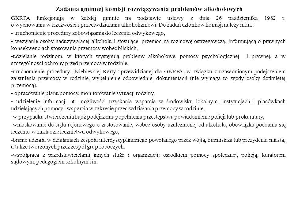 Zadania gminnej komisji rozwiązywania problemów alkoholowych GKRPA funkcjonują w każdej gminie na podstawie ustawy z dnia 26 października 1982 r. o wy