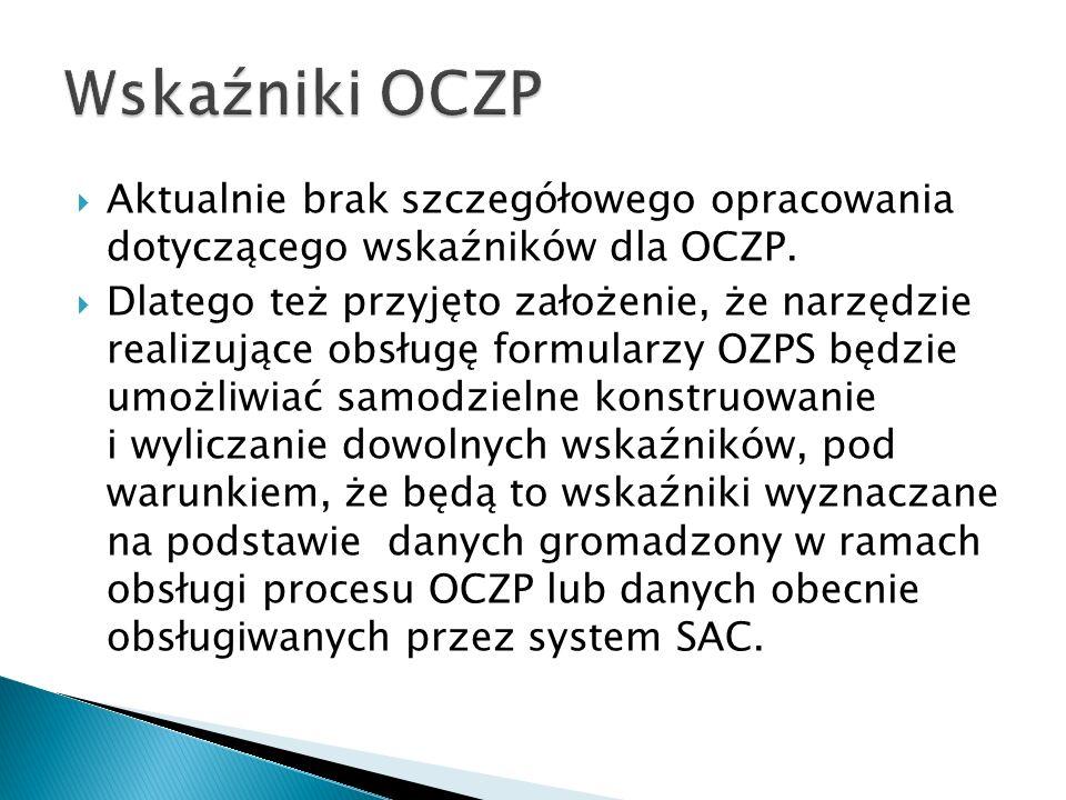Aktualnie brak szczegółowego opracowania dotyczącego wskaźników dla OCZP.
