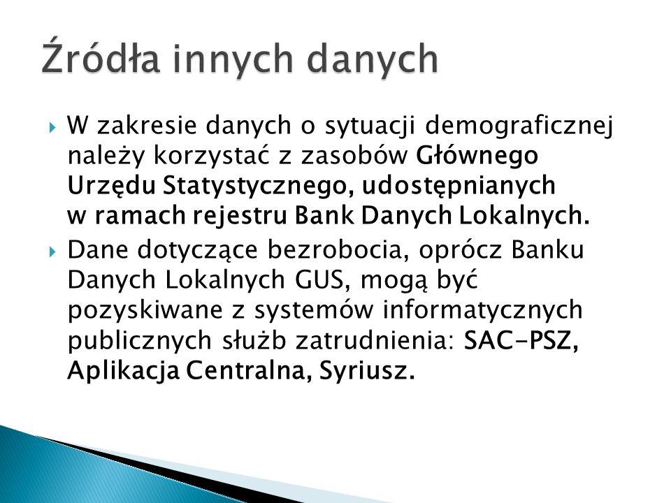 W zakresie danych o sytuacji demograficznej należy korzystać z zasobów Głównego Urzędu Statystycznego, udostępnianych w ramach rejestru Bank Danych Lokalnych.