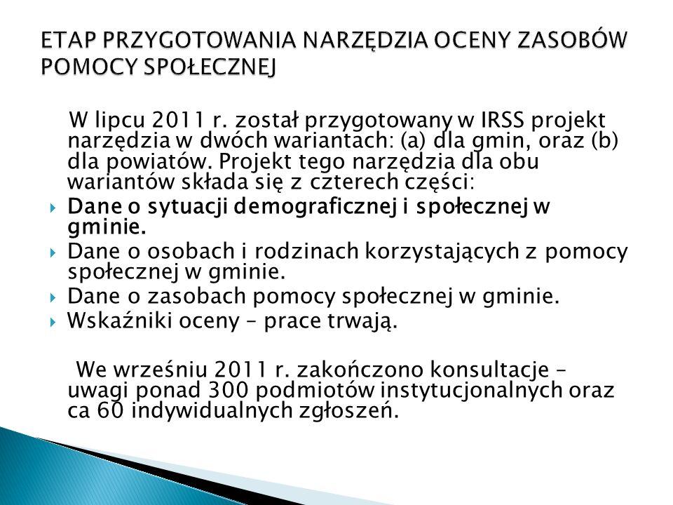W lipcu 2011 r. został przygotowany w IRSS projekt narzędzia w dwóch wariantach: (a) dla gmin, oraz (b) dla powiatów. Projekt tego narzędzia dla obu w