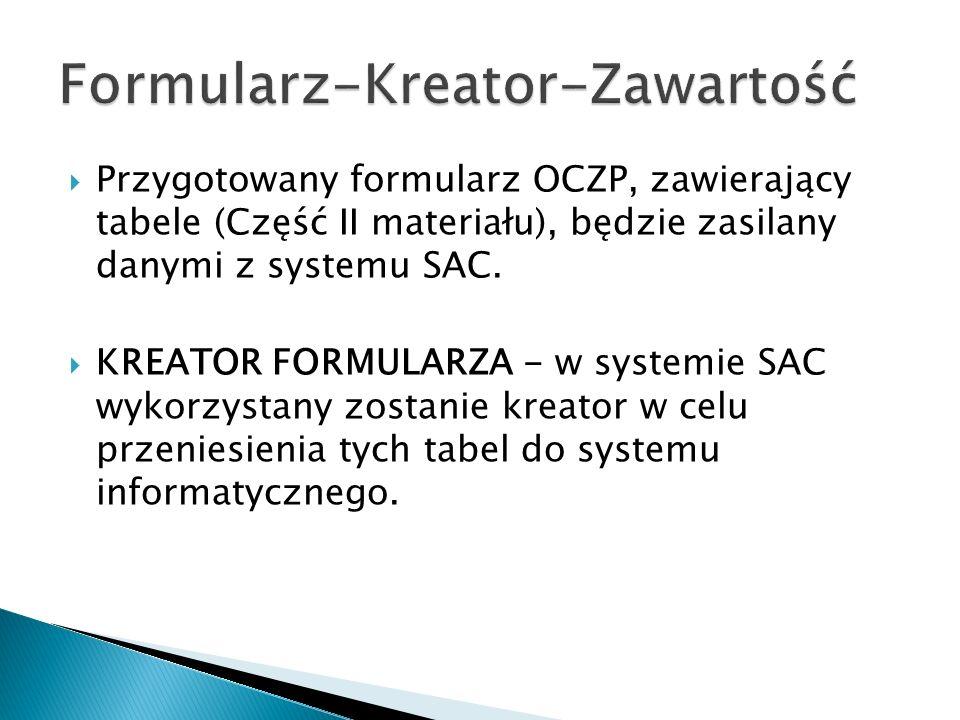 Przygotowany formularz OCZP, zawierający tabele (Część II materiału), będzie zasilany danymi z systemu SAC. KREATOR FORMULARZA - w systemie SAC wykorz