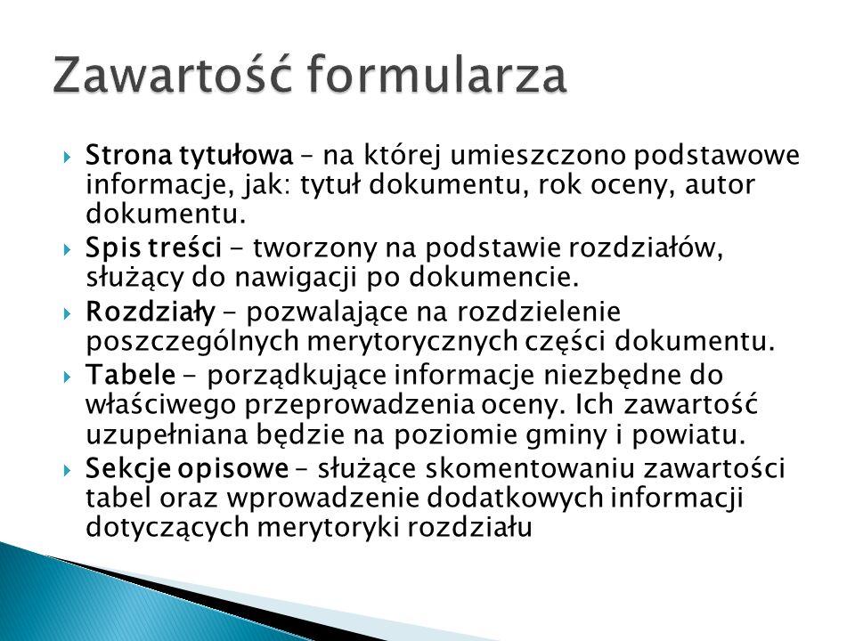 Strona tytułowa – na której umieszczono podstawowe informacje, jak: tytuł dokumentu, rok oceny, autor dokumentu.