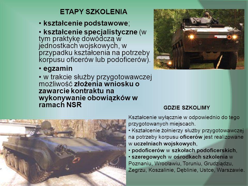 ETAPY SZKOLENIA kształcenie podstawowe; kształcenie specjalistyczne (w tym praktykę dowódczą w jednostkach wojskowych, w przypadku kształcenia na potrzeby korpusu oficerów lub podoficerów).