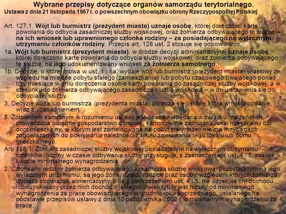 Wybrane przepisy dotyczące organów samorządu terytorialnego. Ustawa z dnia 21 listopada 1967 r. o powszechnym obowiązku obrony Rzeczypospolitej Polski