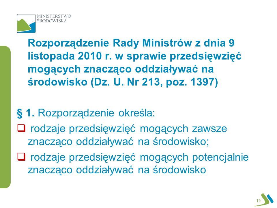 Rozporządzenie Rady Ministrów z dnia 9 listopada 2010 r.
