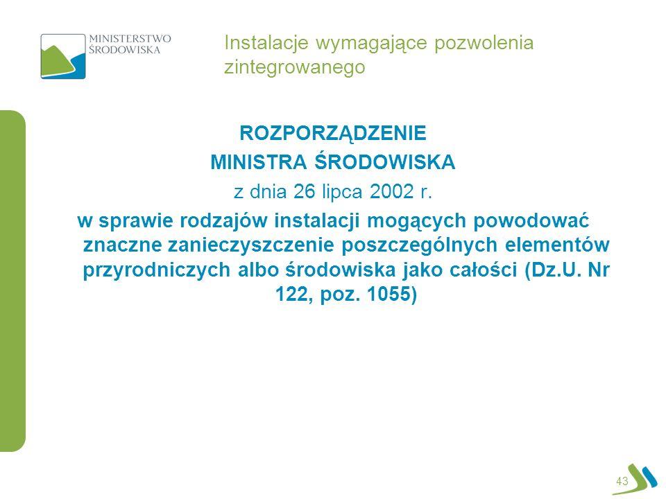 Instalacje wymagające pozwolenia zintegrowanego ROZPORZĄDZENIE MINISTRA ŚRODOWISKA z dnia 26 lipca 2002 r.