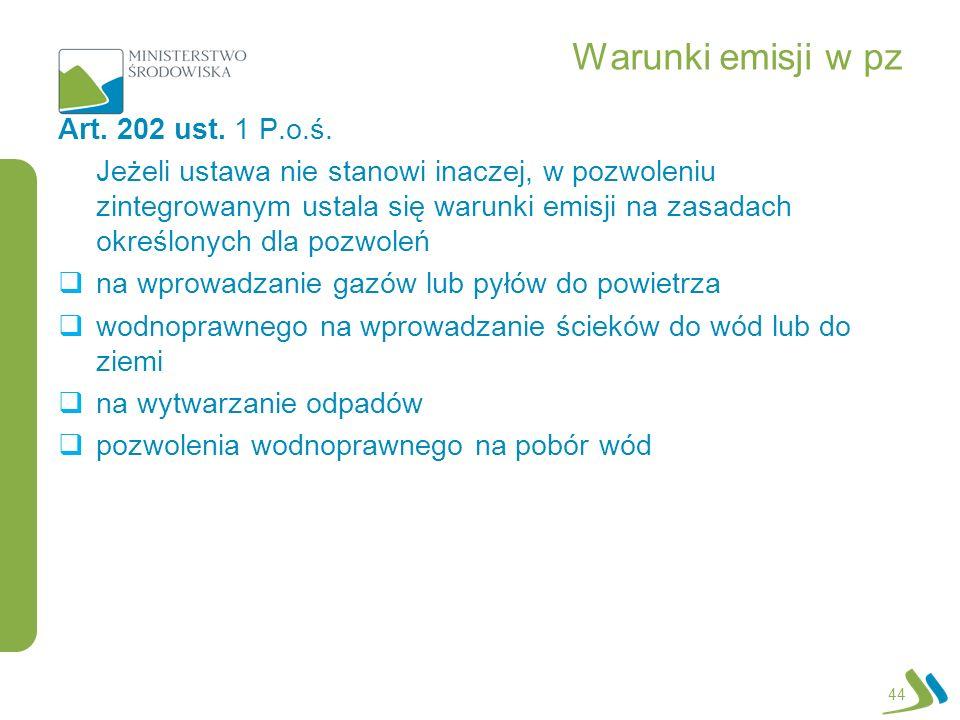 Warunki emisji w pz Art.202 ust. 1 P.o.ś.