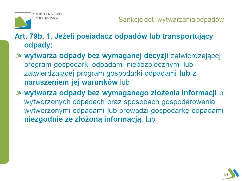 Sankcje dot.wytwarzania odpadów Art. 79b. 1.