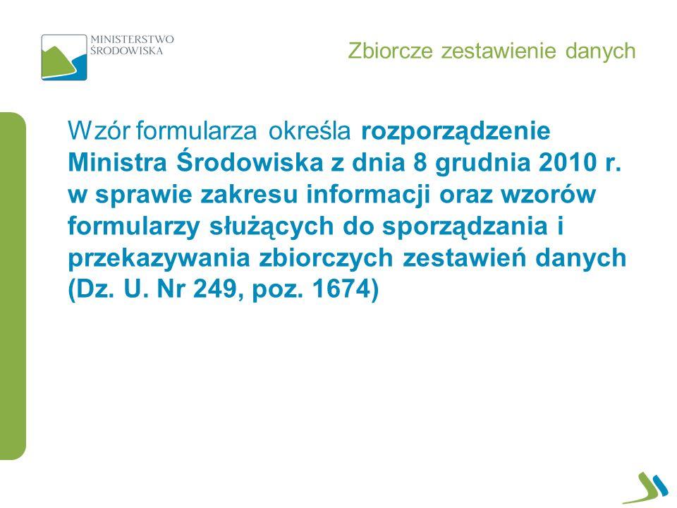 Wzór formularza określa rozporządzenie Ministra Środowiska z dnia 8 grudnia 2010 r.