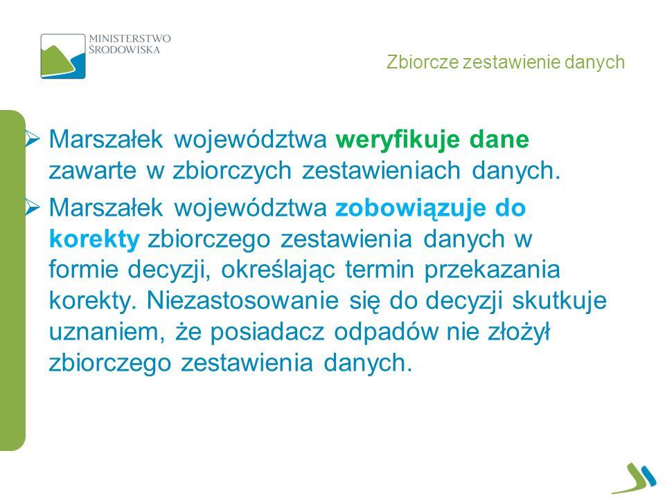 Marszałek województwa weryfikuje dane zawarte w zbiorczych zestawieniach danych.