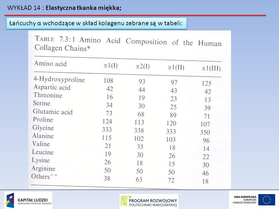 WYKŁAD 14 : Elastyczna tkanka miękka; Łańcuchy α wchodzące w skład kolagenu zebrane są w tabeli: