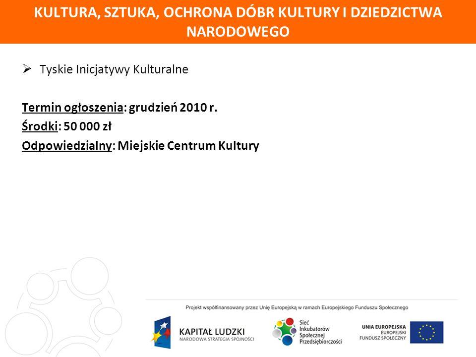 KULTURA, SZTUKA, OCHRONA DÓBR KULTURY I DZIEDZICTWA NARODOWEGO Tyskie Inicjatywy Kulturalne Termin ogłoszenia: grudzień 2010 r.