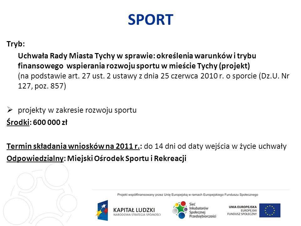 SPORT Tryb: Uchwała Rady Miasta Tychy w sprawie: określenia warunków i trybu finansowego wspierania rozwoju sportu w mieście Tychy (projekt) (na podstawie art.