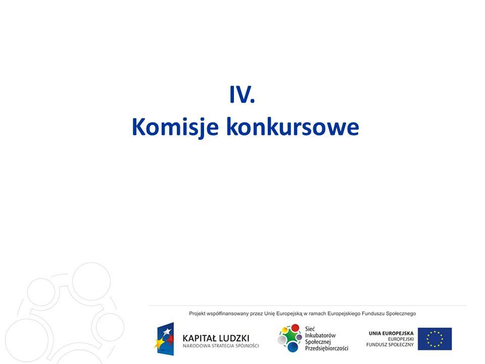 IV. Komisje konkursowe