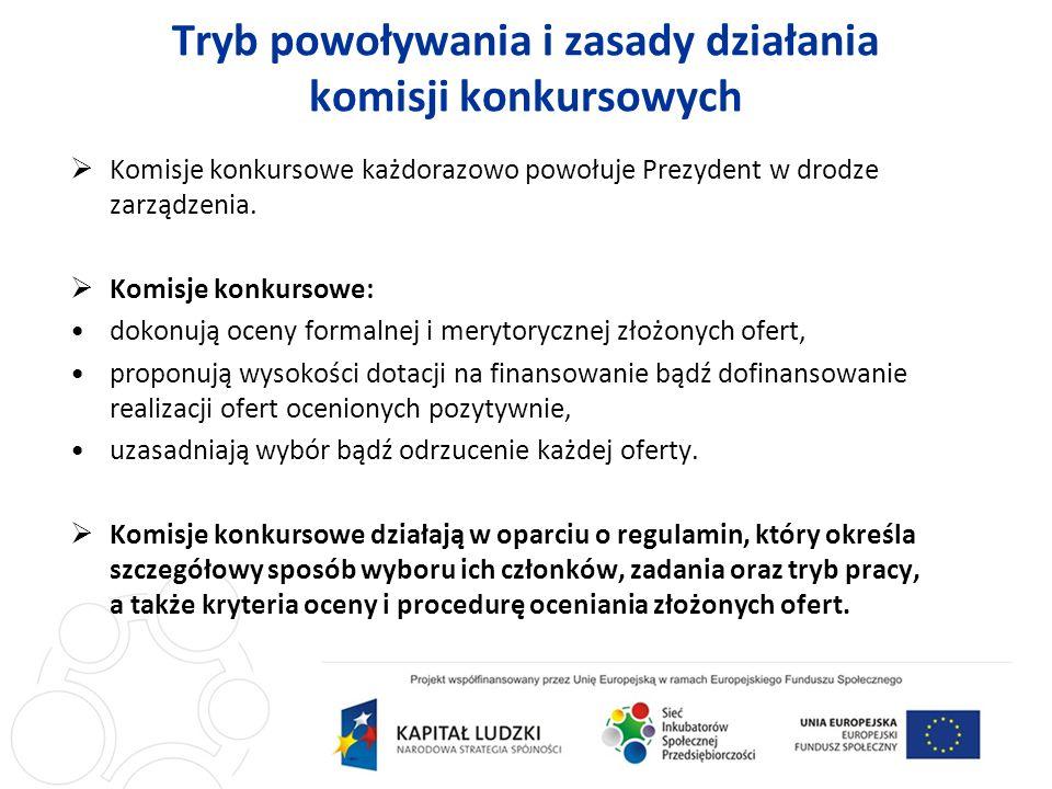 Tryb powoływania i zasady działania komisji konkursowych Komisje konkursowe każdorazowo powołuje Prezydent w drodze zarządzenia.