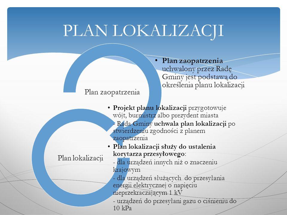 Plan zaopatrzenia uchwalony przez Radę Gminy jest podstawą do określenia planu lokalizacji Plan zaopatrzenia Projekt planu lokalizacji przygotowuje wójt, burmistrz albo prezydent miasta - Rada Gminy uchwala plan lokalizacji po stwierdzeniu zgodności z planem zaopatrzenia Plan lokalizacji służy do ustalenia korytarza przesyłowego: - dla urządzeń innych niż o znaczeniu krajowym - dla urządzeń służących do przesyłania energii elektrycznej o napięciu nieprzekraczającym 1 kV - urządzeń do przesyłani gazu o ciśnieniu do 10 kPa Plan lokalizacji PLAN LOKALIZACJI