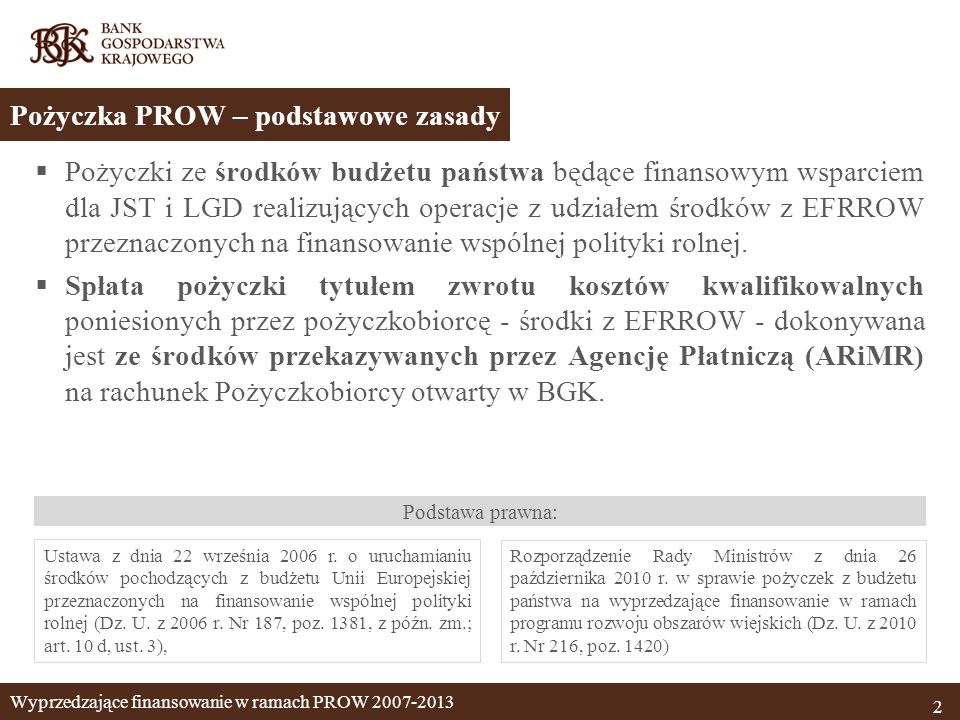 Pożyczki ze środków budżetu państwa będące finansowym wsparciem dla JST i LGD realizujących operacje z udziałem środków z EFRROW przeznaczonych na fin