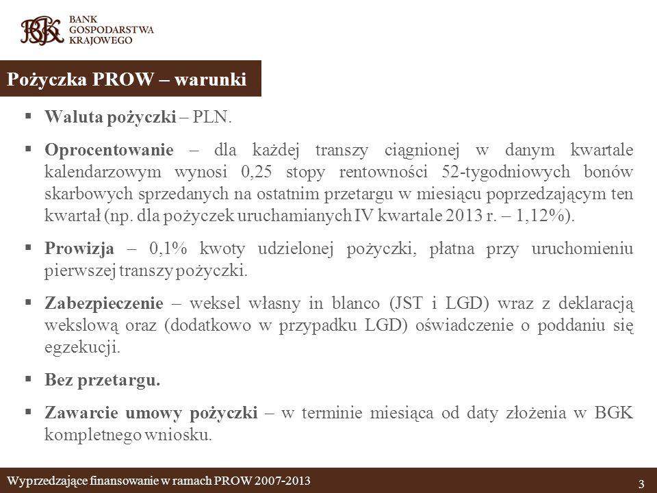 Waluta pożyczki – PLN. Oprocentowanie – dla każdej transzy ciągnionej w danym kwartale kalendarzowym wynosi 0,25 stopy rentowności 52-tygodniowych bon