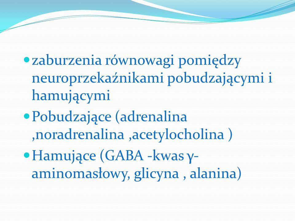zaburzenia równowagi pomiędzy neuroprzekaźnikami pobudzającymi i hamującymi Pobudzające (adrenalina,noradrenalina,acetylocholina ) Hamujące (GABA -kwa