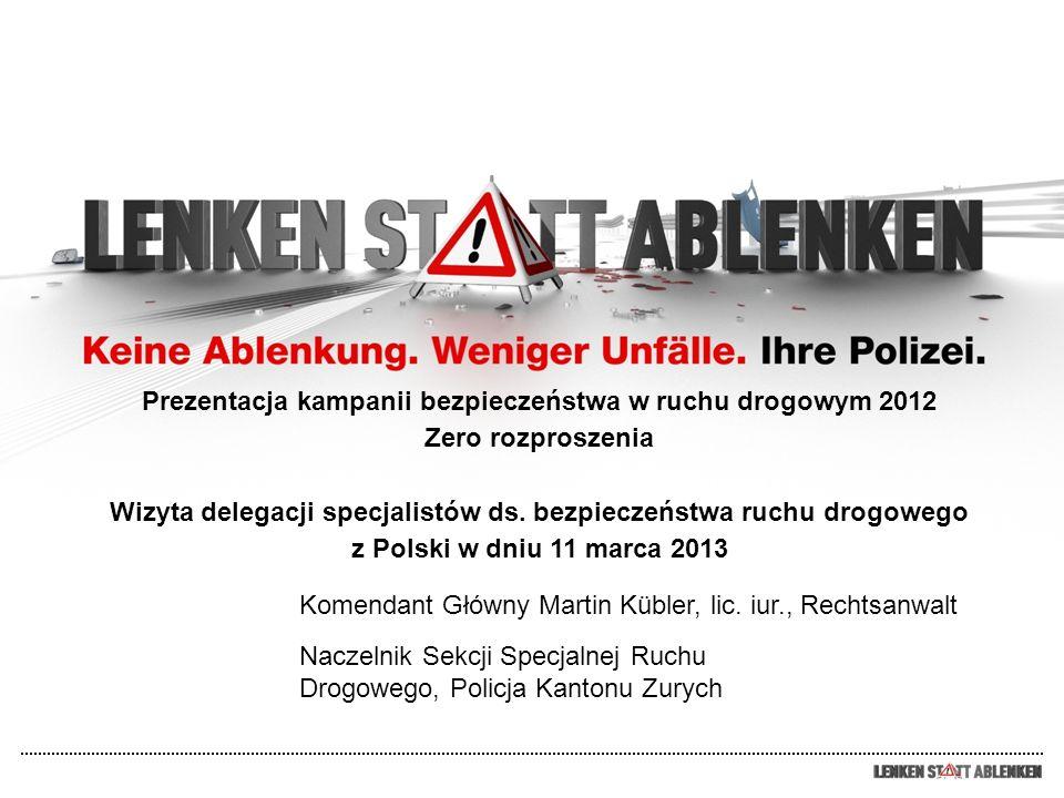 Problematyka i cele Verkehrssicherheitskampagne 2012 Problematyka Na samych tylko drogach Kantonu Zurych (łącznie z miastem Zurych i Winterthur) doszło w roku 2011 łącznie do 13.229 wypadków drogowych (szkody osobowe i majątkowe).