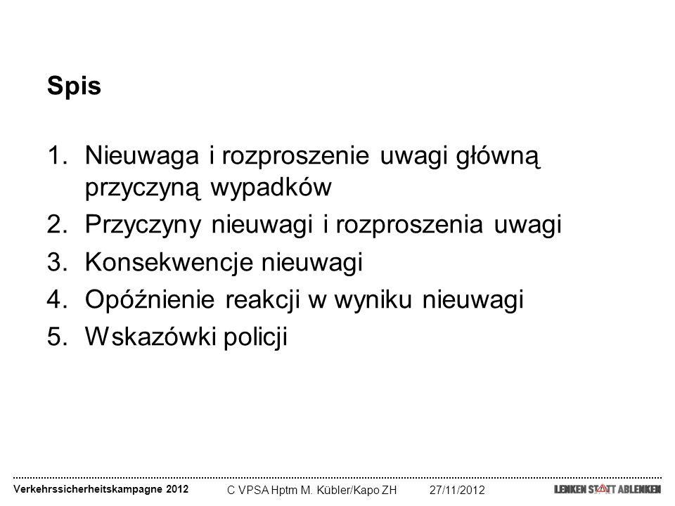 C VPSA Hptm M. Kübler/Kapo ZH27/11/2012 Verkehrssicherheitskampagne 2012 Spis 1.Nieuwaga i rozproszenie uwagi główną przyczyną wypadków 2.Przyczyny ni
